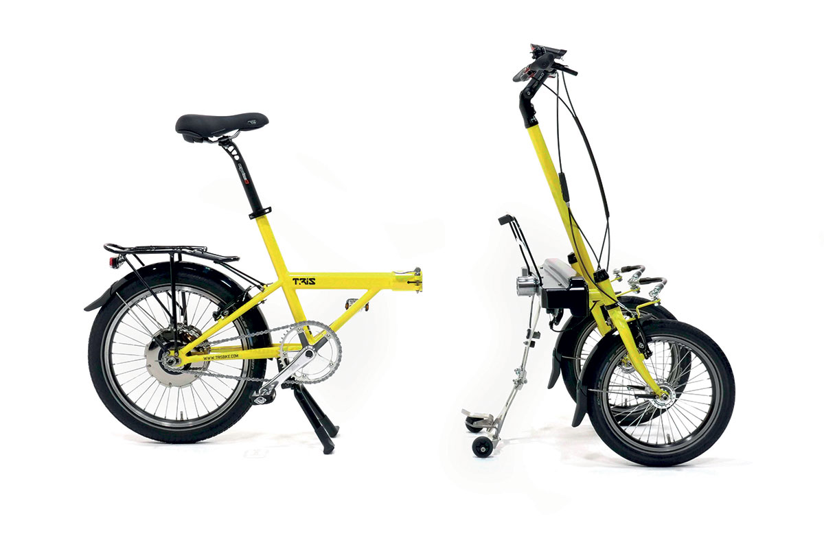 Leaning three wheels e-bicycle