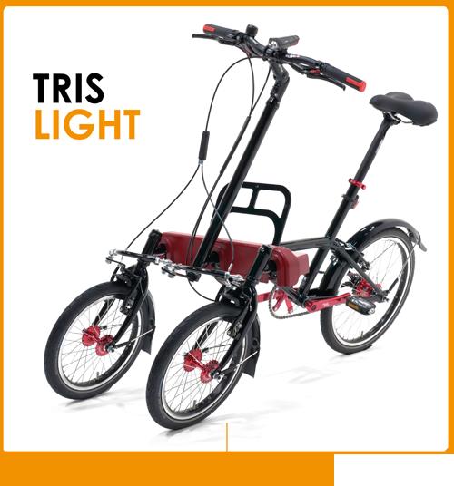 Bicicletta a tre ruote inclinabili e basculanti per adulti